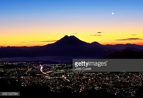 San Salvador El Salvador Boqueron Volcano Valley Valley Of The Hammocks Double Cratered San Vincente Volcano Also Known As Chichontepec Second Highest Volcano In El Salvador Downtown City Lights Lake Ilopango Dawn Setting Full Moon Stock Photo | Getty Images