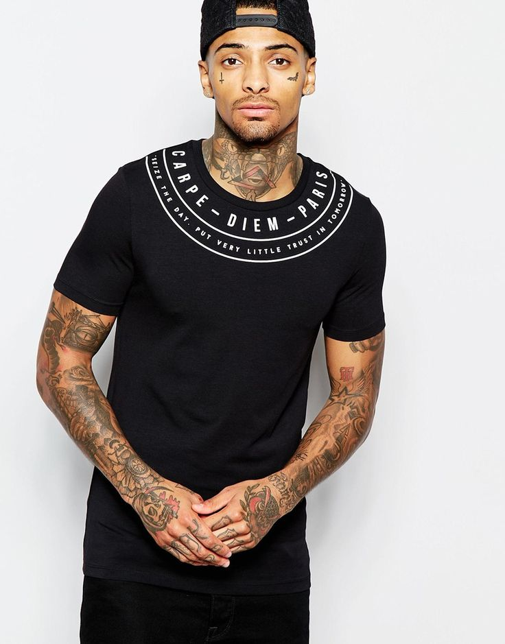 Muscle fit t-shirt by ASOS Stretch jersey Crew neck Print to yoke Slim cut…