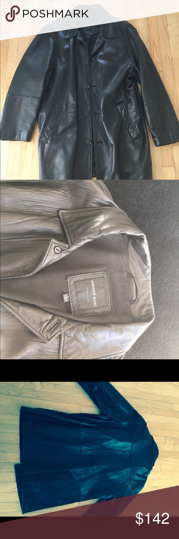 Men's Andrew Marc Black Leather Coat Used Andrew Marc lambskin leather coat. Car coat length size large. Used very lightly w no marks. Andrew Marc Jackets & Coats
