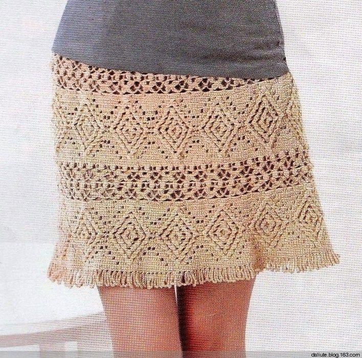 Бежевая юбка крючком
