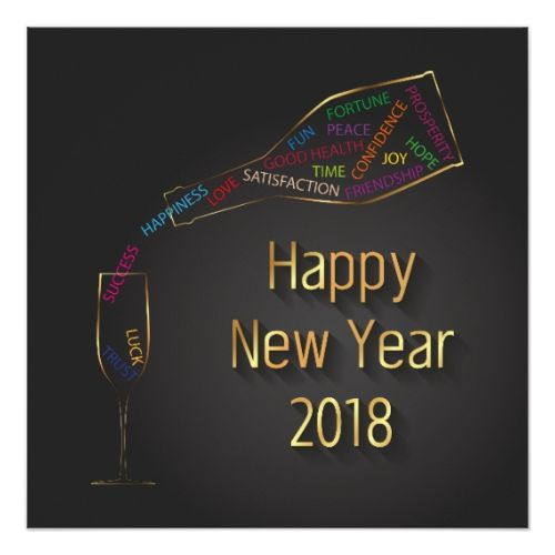 New Year 2018 Champagne Bottle Glass - Invitation