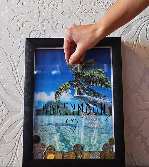3D frame / honeymoon / gift for wedding / after the honeymoon can be used frame as a box of memories (for tickets,...)