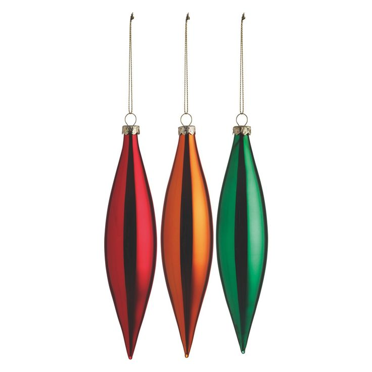 BREE Set of 3 teardrop glass Christmas tree decorations in red, green and orange