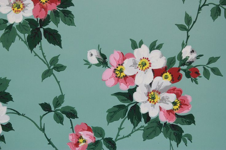 1940's Vintage Wallpaper Pink and White Flowers on Aqua by RosiesWallpaper on Etsy https://www.etsy.com/listing/165814387/1940s-vintage-wallpaper-pink-and-white