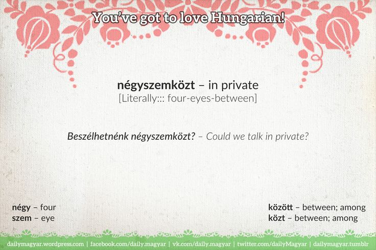 négyszemközt [ˈneːɟsemkøst] – in private; between you and me [Literally::: four-eyes-between]