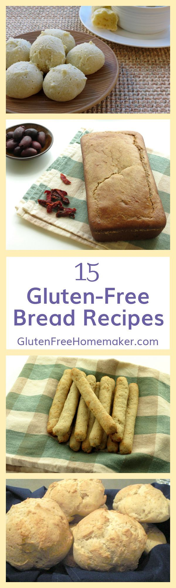 15 Gluten-Free Bread Recipes including French bread, rolls, biscuits, and more! Found at Gluten-Free Homemaker