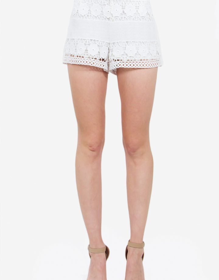 – Floral crochet lace shorts – Side invisible zipper – Lined – Elastic waist band – Color: White  Size + Fit – Model is wearing size S – Measurements taken from size S – Waist: 28″ – Hip: 39.5″