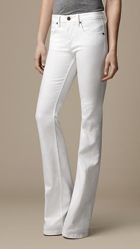 Hempton Optic White Bootcut Jeans | Burberry