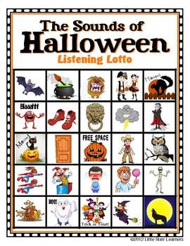 """Kids LOVE listening to the silly and scary """"Sounds of Halloween"""" and trying to match them to the pictures on their playing cards (30 unique game cards and 35 Halloween sound effects included). Besides being loads of fun, this game helps players develop and improve several important learning skills (such as reasoning skills, visual discrimination, visual memory, auditory discrimination and auditory memory)."""