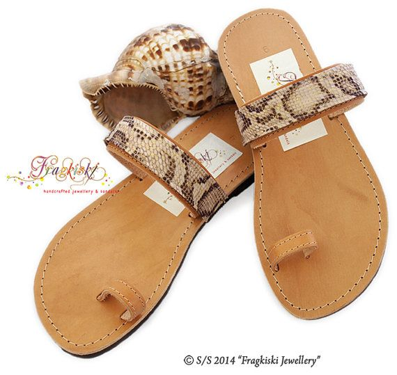 Handmade Leather Sandals with a secret_Snake Lace by Fragkiski, $86.00