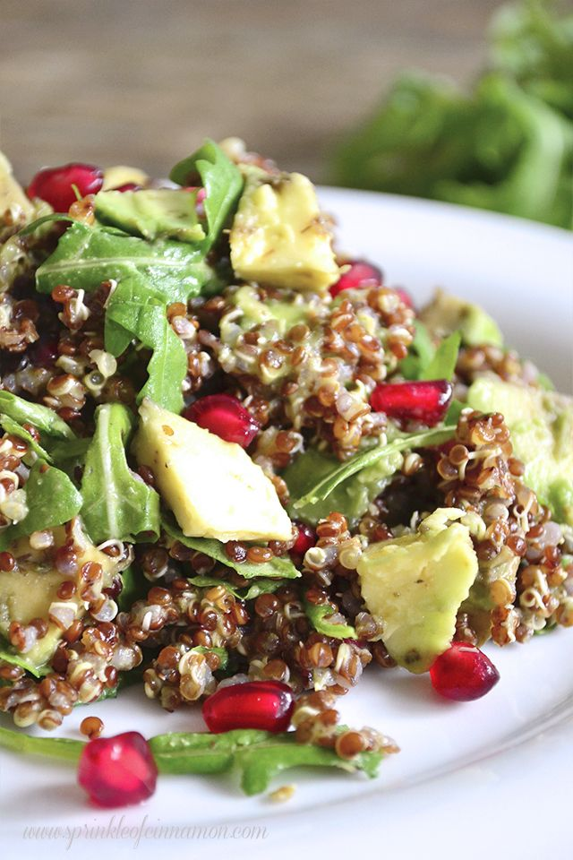 Sour and sweet full of flavor and amazing ingredients this red quinoa, pomegranate and arugula salad is one of my favorites.