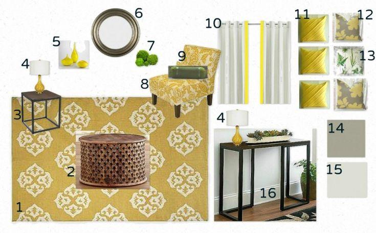 Gray and Yellow Living Room Mood Board