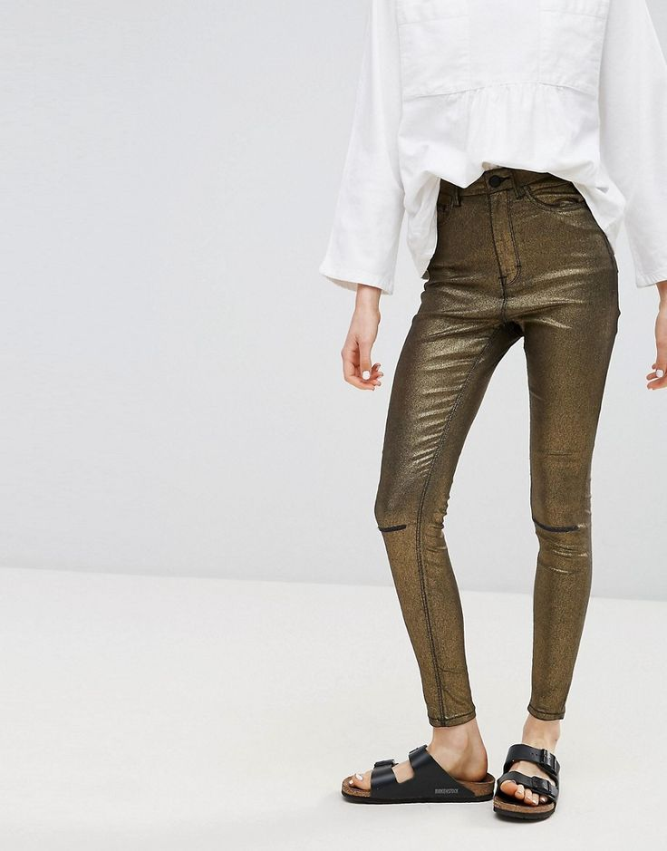 Get this Waven's skinny jeans now! Click for more details. Worldwide  shipping. Waven Anika Metallic High Rise Skinny Jeans - Copper: Jeans by  W VEN, ...
