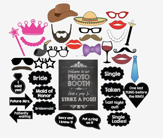 digital Bachelorette party photo booth props - bachelorette party games wedding engagement on Etsy, $8.99