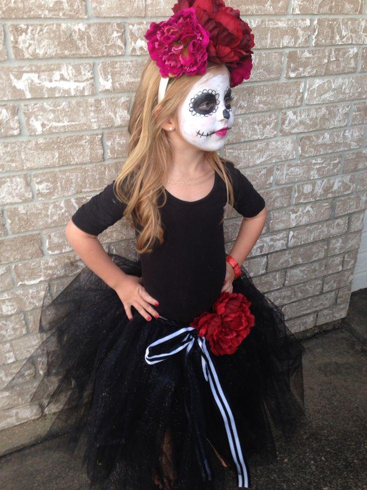Day of the Dead costume   Dia de Los Muertos   sugar skull. Kids halloween costume. Homemade costume