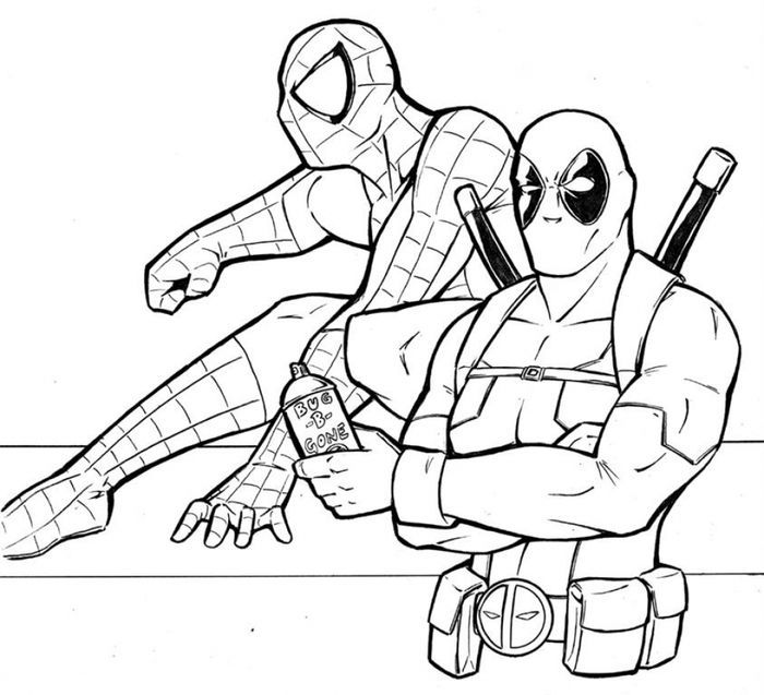 Deadpool And Spiderman Coloring Pages In 2020 Spiderman Coloring Superhero Coloring Deadpool And Spiderman
