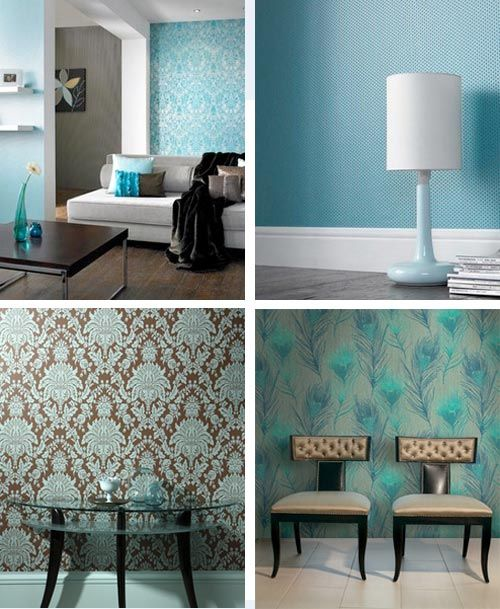 491 best images about grey white interiors on pinterest for Turquoise wallpaper for bedroom