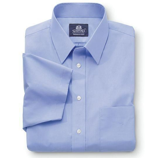 This Stafford everyday dress shirt is a wardrobe staple featuring our commitment to quality and wearability. wrinkle-free performance extra-long shirttail cotton/polyester washable imported... M