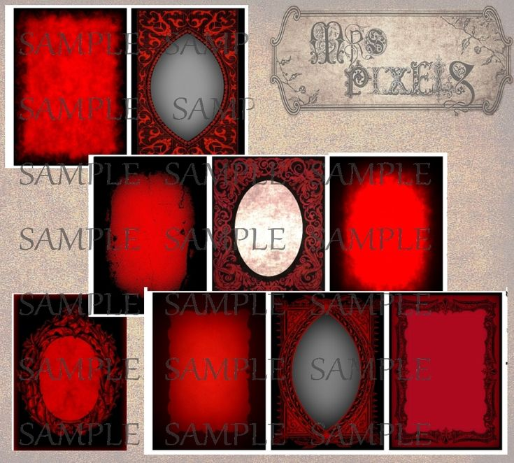 Spooky, dark and different, ATC size frame images in Gothic black and red designs have a variety of smoke clouds, frosted gray, and textured inner settings. #GothicFrames #DigitalDownloads #BlackRedDark