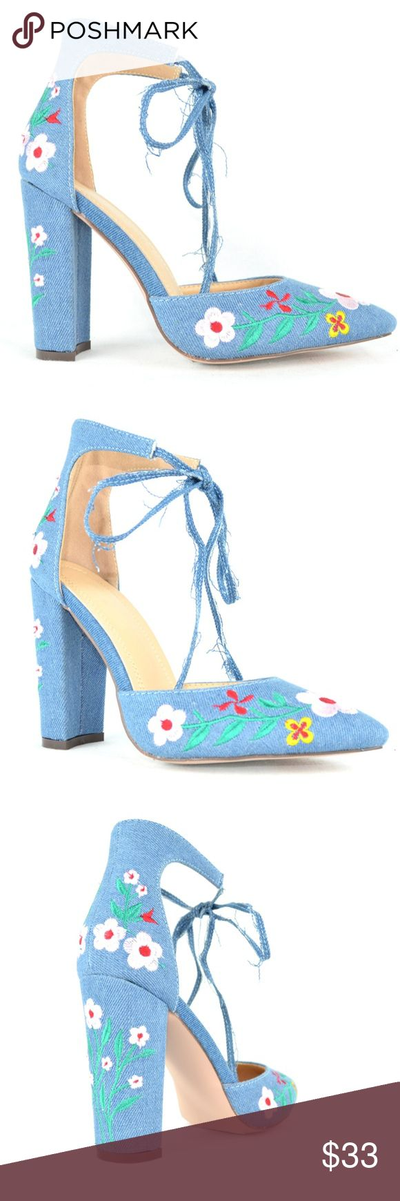 """Women's Denim Floral D'orsay Chunky Heel Pump Pointy Toe Approx.3.75"""" Heel Block Chunky Heel Women's D'orsay Pump Ankle Tie Closure Very Comfortable  Faux Suede Imported Chase & Chloe Holland-3 Fit True to U.S Size. Chase & Chloe Shoes Heels"""