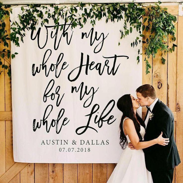 Mit meinem ganzen Herzen für mein ganzes Leben Hochzeitsdekoration Hintergrund