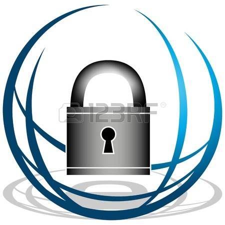 Una imagen de icono globo y candado de seguridad  Foto de archivo