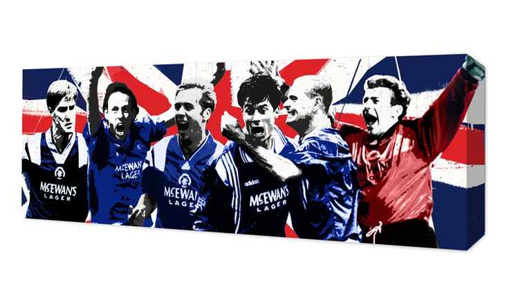 """A tribute to Rangers' Nine In A Row Legends, Richard Gough, Mark Hateley, Ally McCoist, Paul Gascoigne, Brian Laudrup and Andy Goram.Canvas Sizes available:30"""" x 10""""• Qualit..."""
