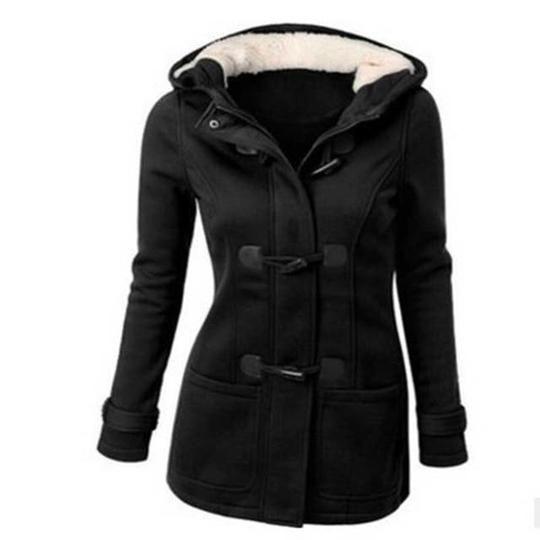 Horn buckle Zipper Hooded Women Coats Autumn Solid 6 Colors Casualliilgal 2