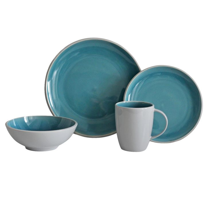 This 16pc Portel Teal dinnerware in a cheery shade of teal will provide a pop of color your table.   Dishwasher and microwave safe.    Includes 4 dinner plates,  4 salad plates, 4 bowls, 4 mugs.