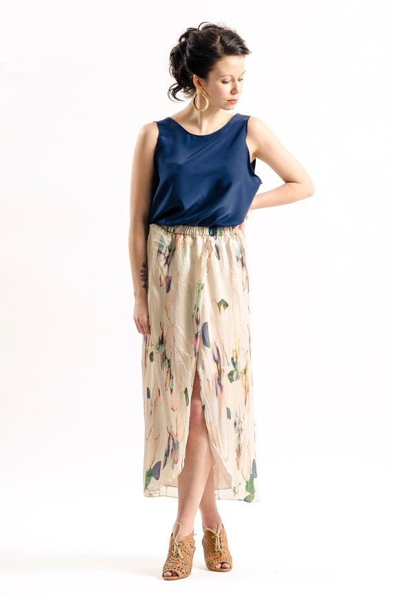 Silk skirt in water colour print by KandisIvy on Etsy, $95.00