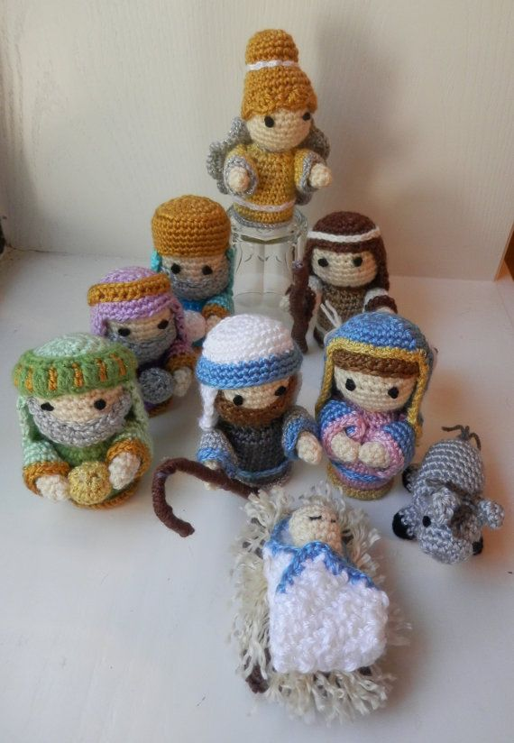 Nativity  Handmade Crochet Nativity 10 Figure Set by BabyByBecca