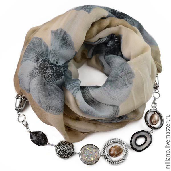 Купить Хлопковый Шарф ожерелье с бижутерией серый цветок - шарф женский, шарф, шарф снуд