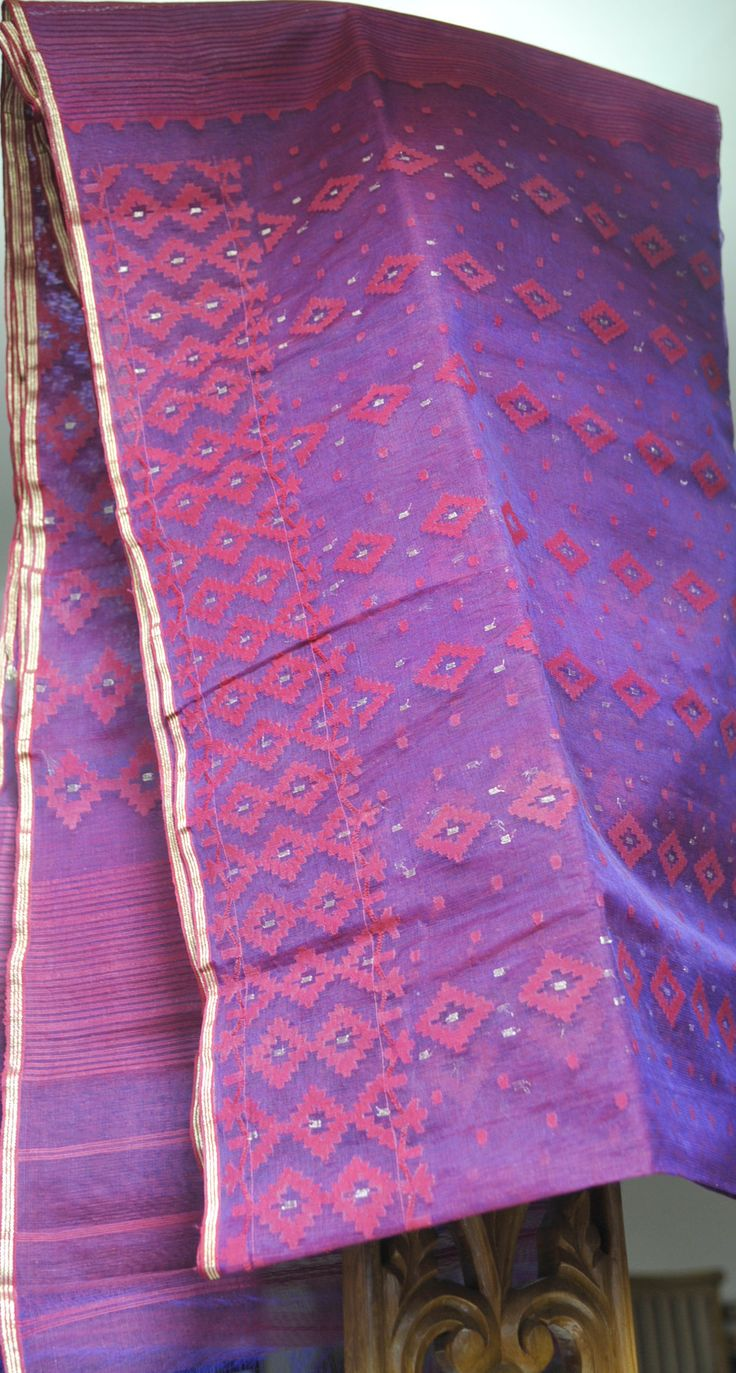 Purple Jam color Silk cotton Jamdani from MIDRAAR