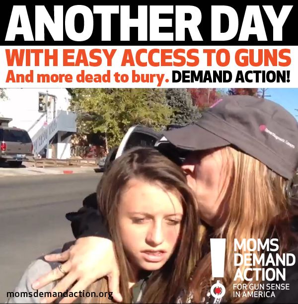 From Moms Demand Action for Gun Sense in America OUR HEARTS ARE BROKEN BY ANOTHER SCHOOL SHOOTING: If your heart is broken too then hug your kids, dry your tears and ACT: http://momsdemandaction.org/take-action/