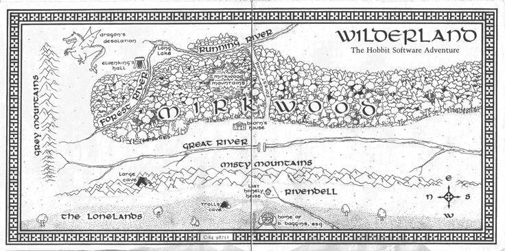 Did Maps In Middle Earth Have West: Hobbit Map II. Wilderland, West To East.
