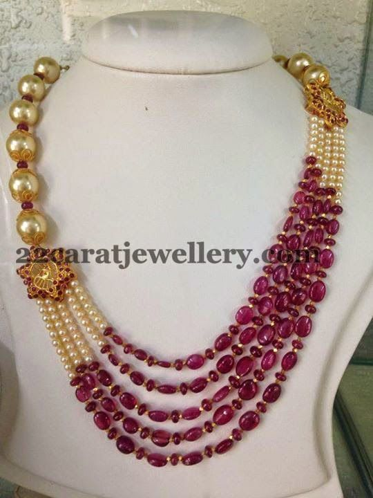 Jewellery Designs: Cabochon Rubies Beads Set