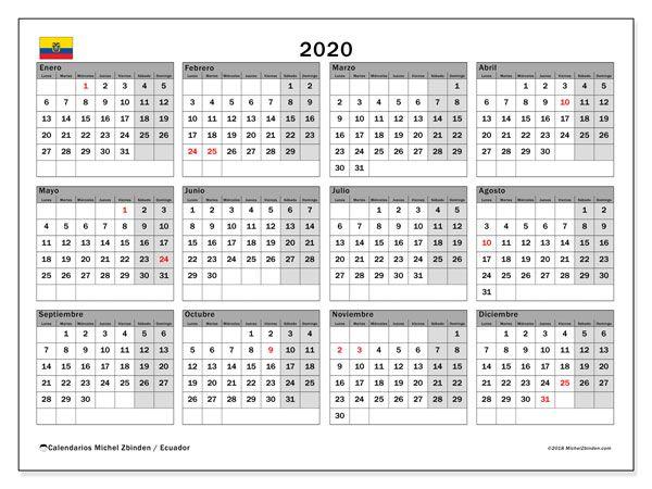 Calendario 2020 Argentina Para Imprimir Pdf.Calendario 2020 Ecuador Bautismo Calendario Mensual