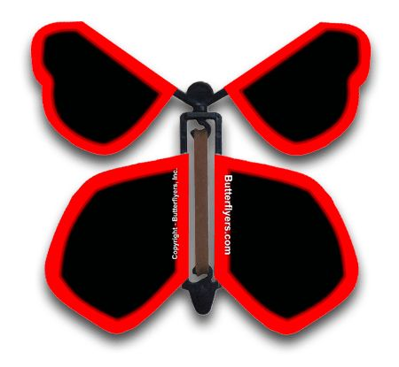 Neon Red Wind Up Flying Butterfly