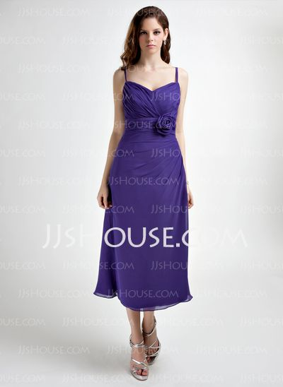 Bridesmaid Dresses - $92.99 - A-Line/Princess Sweetheart Tea-Length Chiffon Bridesmaid Dress With Ruffle Flower(s) (007021040) http://jjshouse.com/A-Line-Princess-Sweetheart-Tea-Length-Chiffon-Bridesmaid-Dress-With-Ruffle-Flower-S-007021040-g21040
