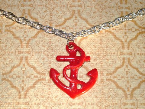 Anchors Away Red Rockabilly Bling Necklace - Mookie Designs