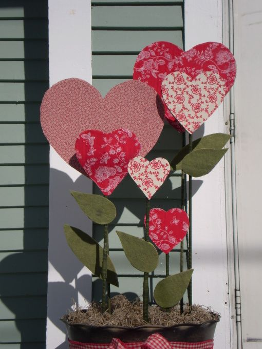 Growing Love For Valentineu0027s Day, A Pot Of Fabric Covered Hearts For  Indoors Or
