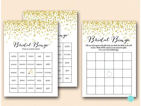 Bridal bingo game bridal bingo cards bridal by MagicalPrintable