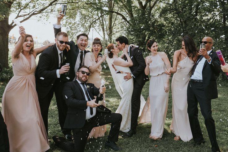 fun bridal party photo; PHOTOGRAPHY Joel and Justyna Bedford; Ottawa wedding photography; Arboretum Ottawa wedding party;