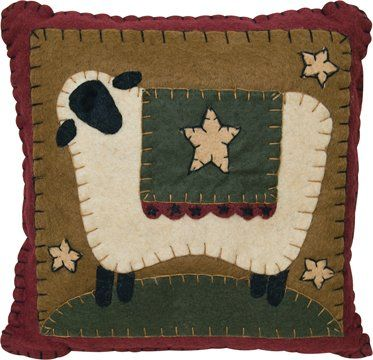 Amazon.com: Pillow with Stitched Felt Sheep Country Rustic Primitive: Home & Kitchen