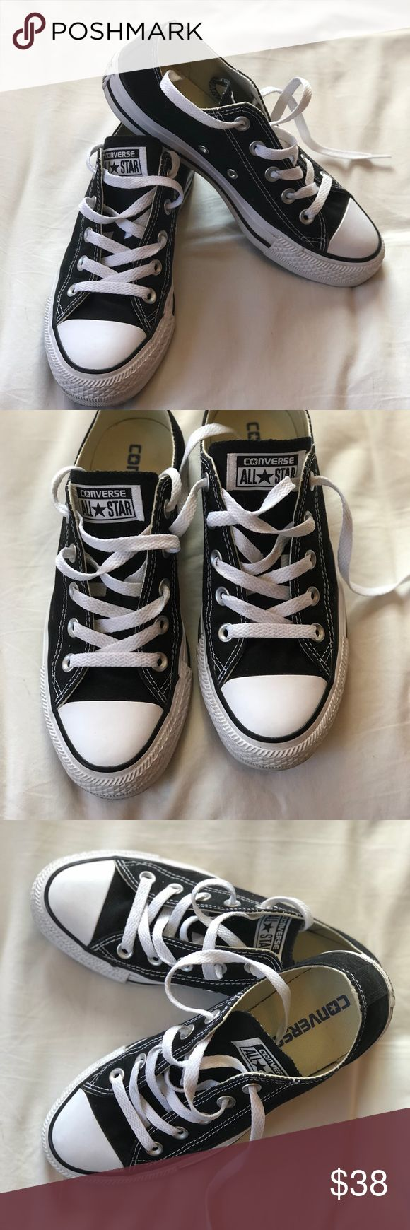 Black Converse All-Star low top sneakers Black and white converse low tops. Only worn once, and super clean! Women's size 6/men's 4 Converse Shoes Sneakers