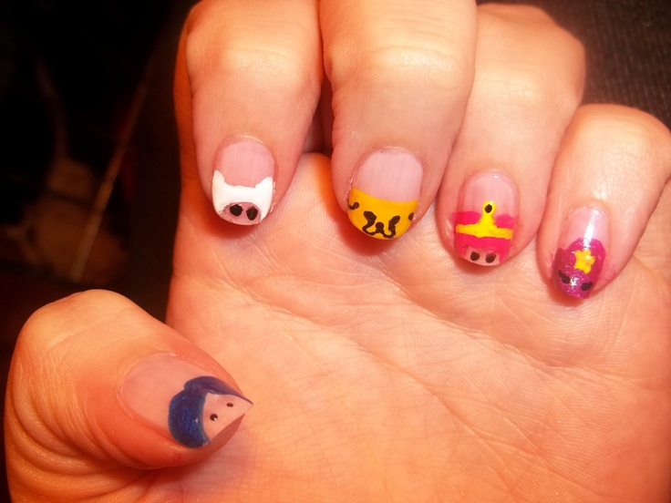 : Nails Art, Colors Nails, Adventure Time Nails, Nerdy Nails, Nails 3