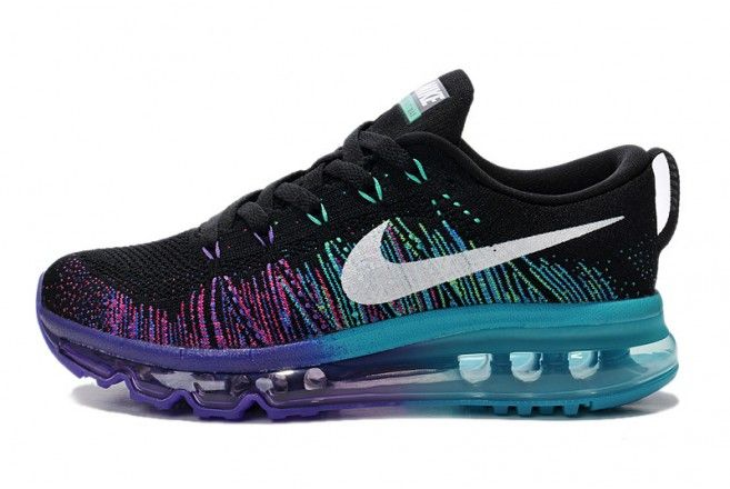 nike womens air max flyknit running shoes black and purple