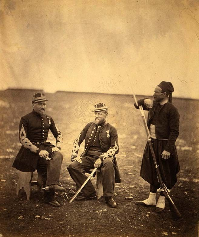 TWO OFFICERS OF FRENCH LINE ZOUAVES IN 1855 DURING THE CRIMEAN WAR: