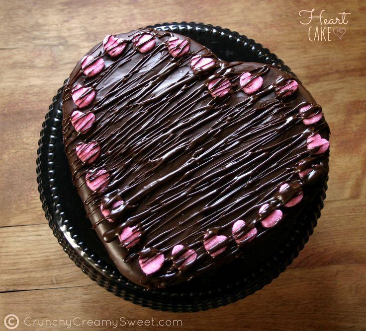 Chocolate Ganache Heart Cake CrunchyCreamySweet.com