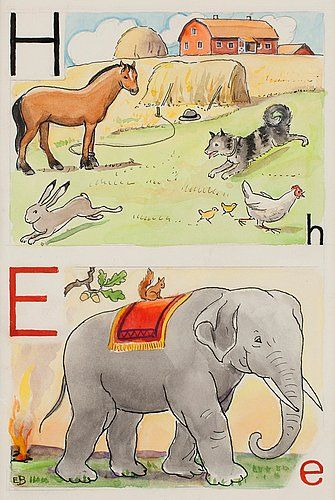 "ELSA BESKOW, ""H-häst och E-elefant"". Signed E.B. From ""Vill du läsa I"", page 12, picture 18, 19.... - The Spring Classic Sale, Stockholm 562 – Bukowskis"